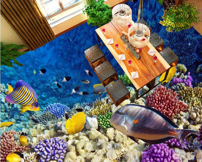 3d stereoscopic wallpaper 3d floor tiles Ocean World wallpaper for kids room 3d floor murals luxury wallpaper