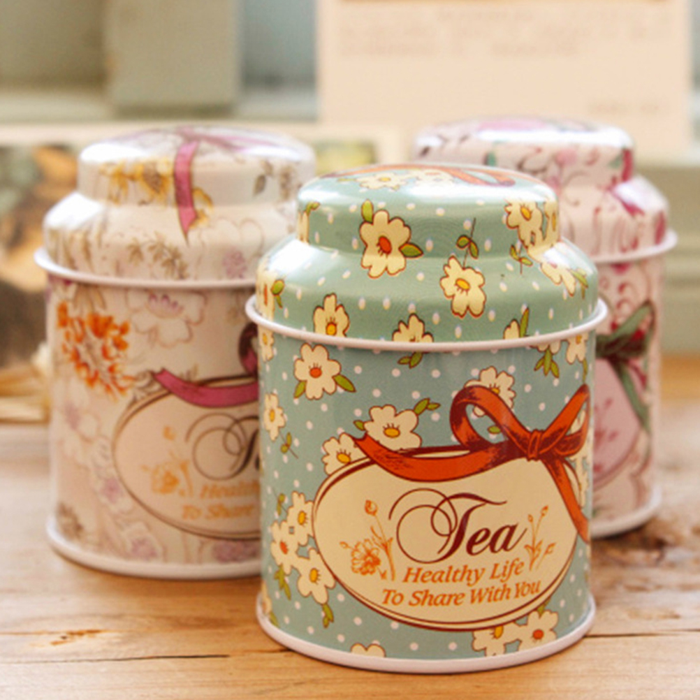 Initiative 1xbeautiful Flower Storage Box,small Metal Tin Boxes,bow-knot Tea Box For Sugar Coffee Coin And Small Things Storage Clip Holder & Clip Dispenser