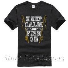 Keep Calm & Fish On Fishinger Rod Mens T-Shirt  100 % Cotton T Shirt For Boy Short Sleeve