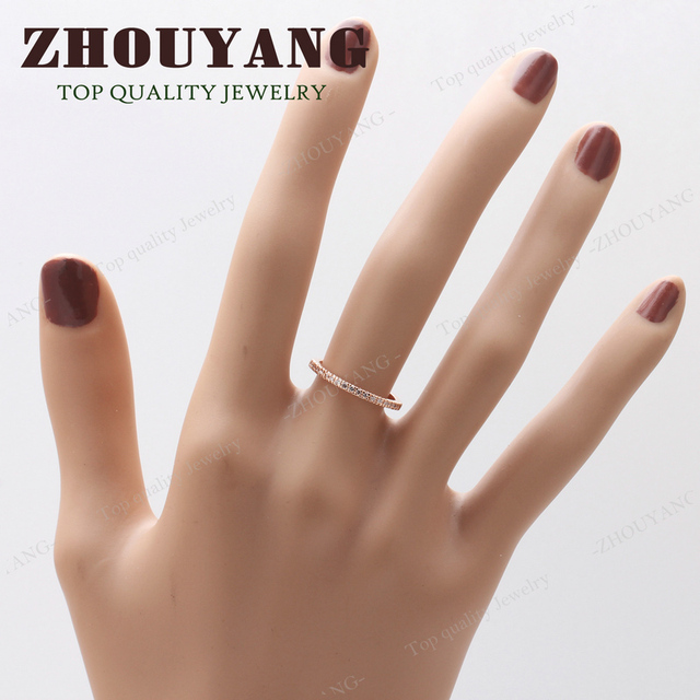 Top Quality Gold Concise Classical CZ Wedding Ring Rose Gold Color Austrian Crystals Wholesale ZYR132 ZYR133 5