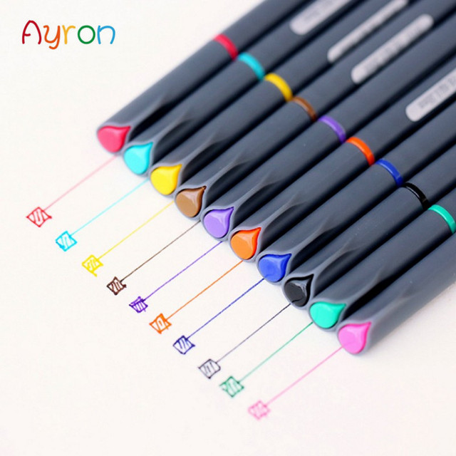 Ayron 10 Colors 0.38mm Fineliner Pens with coloring book Markers ...