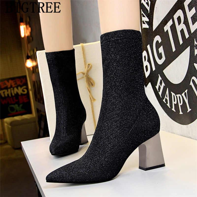 Glitter çizmeler Kalın topuk siyah çizmeler kadın bigtree ayakkabı kadınlar yüksek topuklu yarım çizmeler kadınlar için sivri burun yüksek topuklu ayakkabi