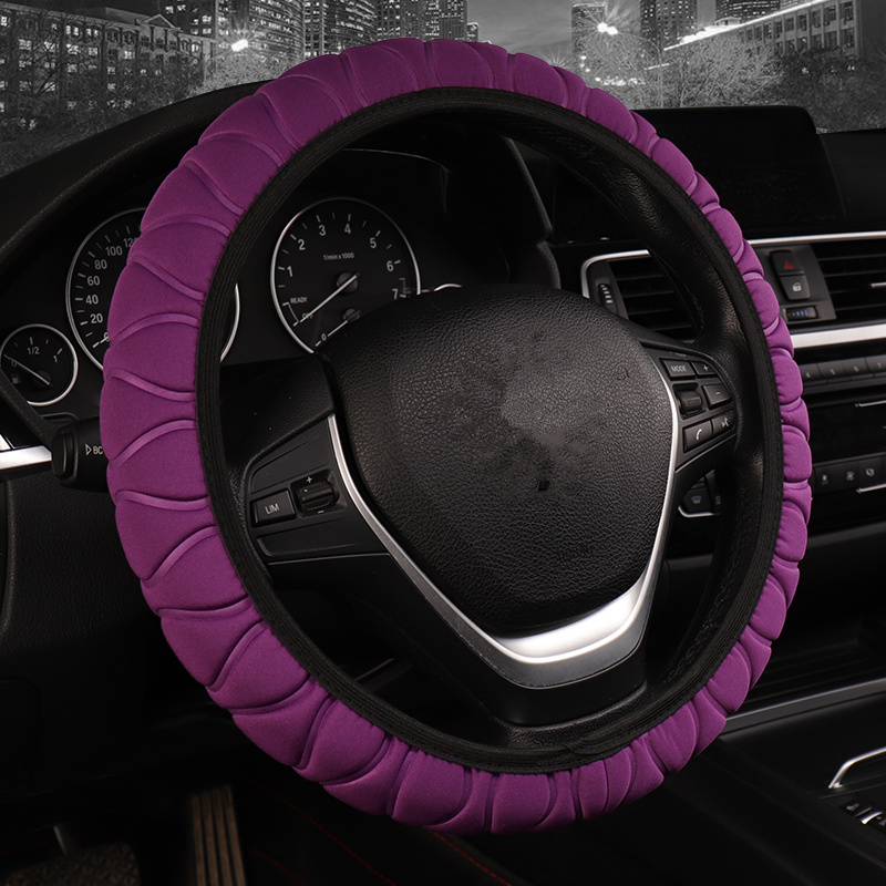 NEW 7 Clolors Fit For Most Cars Skidproof Durable Ice silk Steering Wheel Covers 3D Without Inner Circle