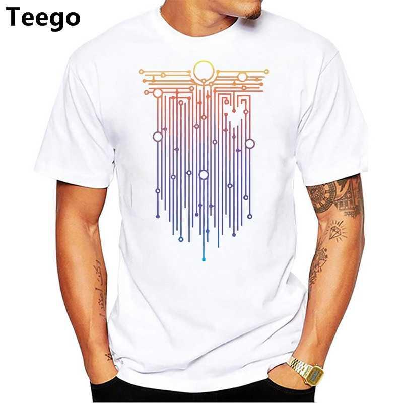 2018 модная мужская футболка запрограммирована на жизнь хлопок футболки белые забавные красочные Топы И Футболки Funky мужские