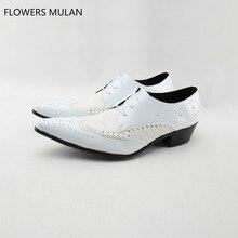 962aeeffc حار الايطالية الكلاسيكية البروغ حذاء أيرلندي الرجال حقيقية الأحذية الجلدية  الدانتيل يصل الرسمي الأعمال اللباس أحذية خليط الأبيض .