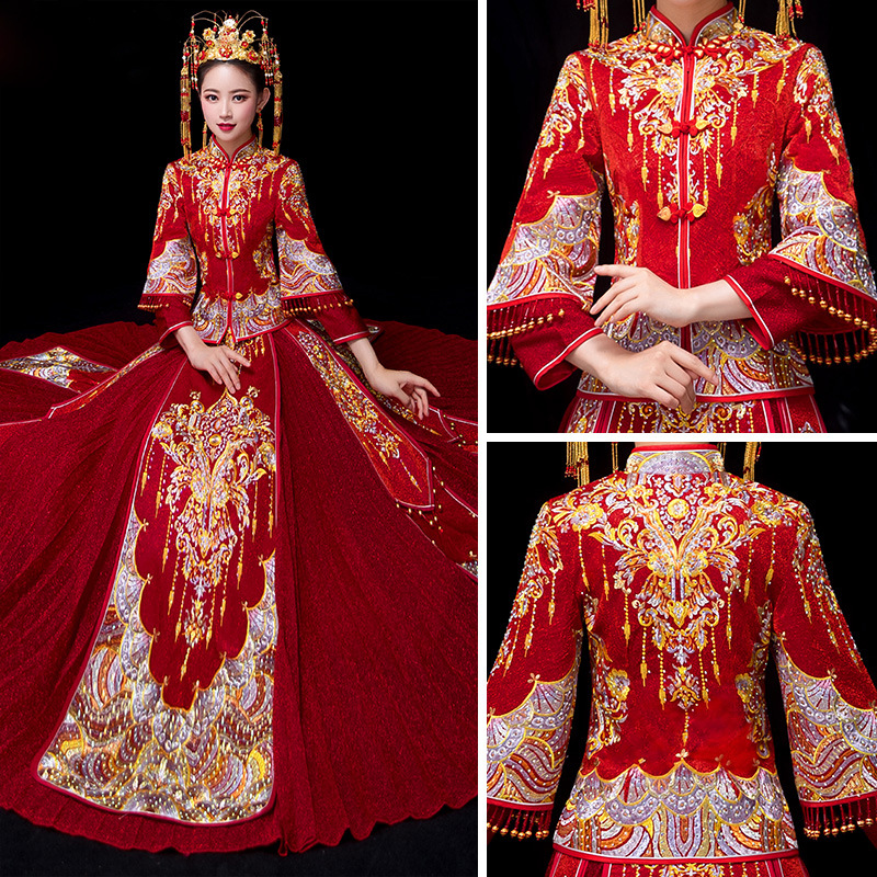 Qipao Wedding Gown: Bride Traditions Red Women Phoenix Embroidery Cheongsam