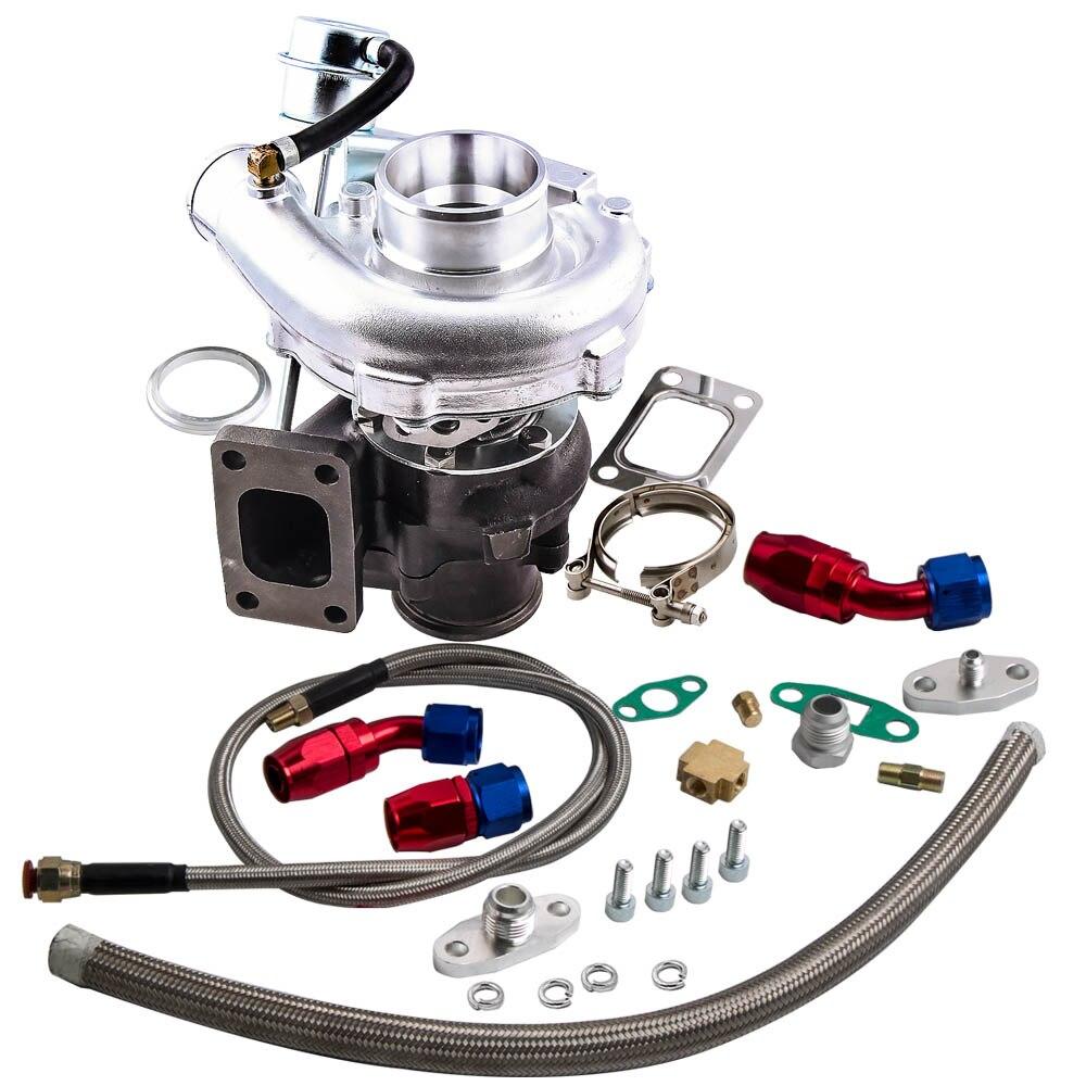Hibrid T3 T4 T3T4 TO4E v-band Turbo 0.63 AR yağ boşaltma dönüş besleme hattı kiti 2.0 -3.5L A/R 0.50 0. 63 motor dengeli