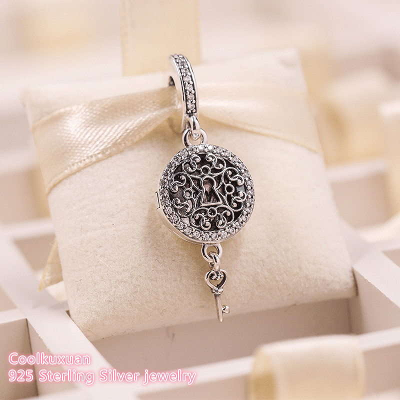 2018 Autumn 925 Sterling Silver Regal Love Key Dangle Charm, Clear CZ Beads Fit Original Pandora Charms Bracelet Jewelry Making