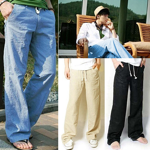 New Arrival Mens Fashion Casual Loose Drawstring Waist Solid Linen Trousers Beach Pants