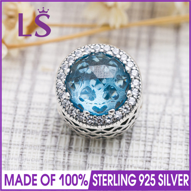 LS High Quality 925 Sterling Silver Sky Blue Radiant Heart Charm Fit Original Bracelets Pulseira Encantos.100% Fine Jewlery W