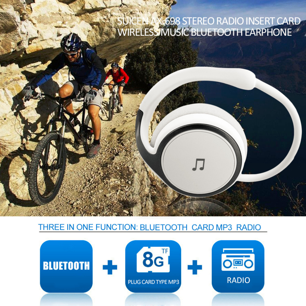 Bluetooth 4.1 Headset Stereo Radio Insert Card Wireless Music Earphone Headphone Support TF Card FM