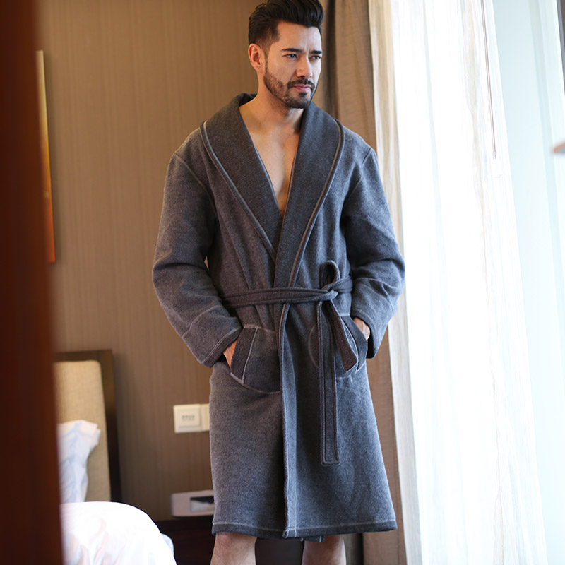 Male Robe 2018 Spring Autumn Brand Hombre Bathrobe With Japanese Double-Face Home Wear W ...