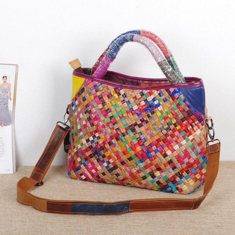 ФОТО Caerlif EU Styles woven  Bag Vintage Fashion Bags Women's Cowhide Genuine Leather Handbag Fashion Brand Real Natural Tote bags
