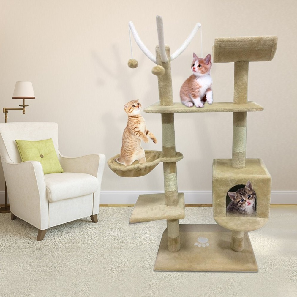 Cat's Tree Tower Condo Scratcher Home Furniture Pets House Hammock Furniture Pets House Hammock Beige/Grey Cat's Tree Tower Tool froggy builds a tree house