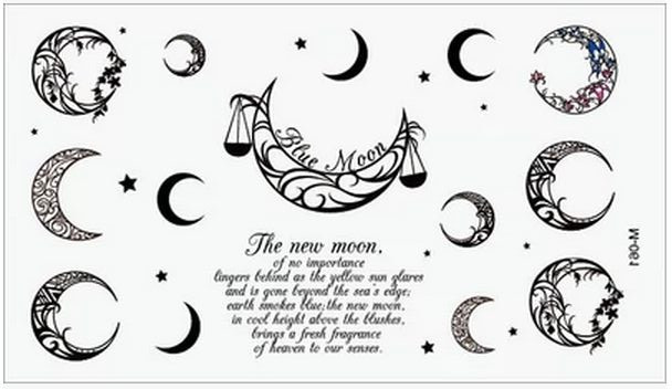 Sex Products Temporary Tattoo For Man Woman Waterproof Stickers makeup maquiagem make up moon star stars Tattoo WM013