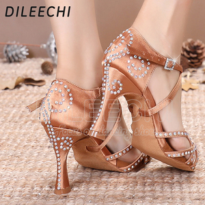 Image 2 - DILEECHI สตรีรองเท้าเต้นรำซาติน Shining rhinestone ด้านล่าง Latin Dance รองเท้าผู้หญิงรองเท้าเต้นรำ Salsa heel5CM 10CM