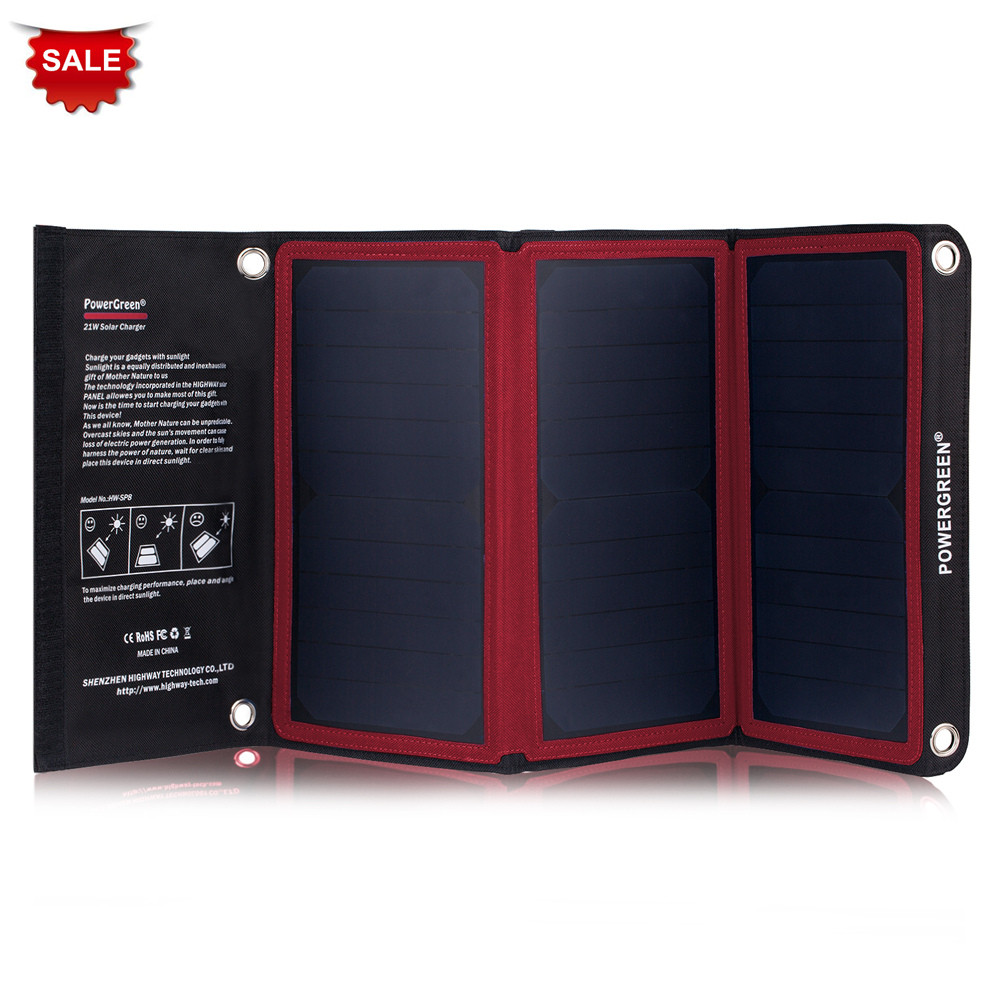 New Arrival PowerGreen 21W Foldable Solar Panel Charger 5V 2A Solar Power Bank SUNPOWER Battery Pack for TravelingNew Arrival PowerGreen 21W Foldable Solar Panel Charger 5V 2A Solar Power Bank SUNPOWER Battery Pack for Traveling
