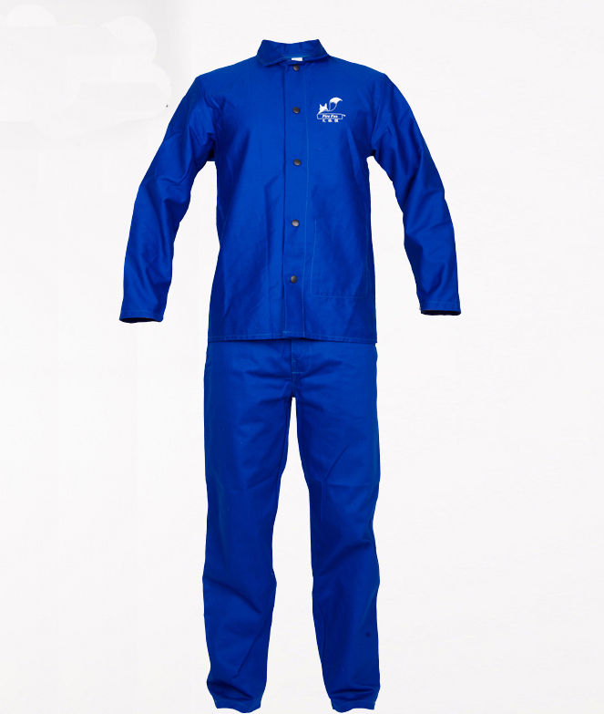 welding clothes flame retardant clothing wear-resistant 100% cotton set work wear welding clothing fire fox 100% fr cotton blue jeans work trousers sweat absorbing breathable flame resistant welding clothing