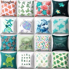 Hongbo 1 Pcs Sea Turtle Printed Cushion Cover Home Decor Pillowcase Sofa Cushion Case home office leisure outdoor rattan daybed with white cushion to sea port by sea