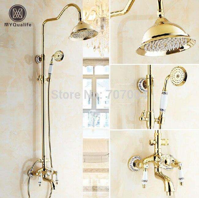Golden Bathroom 8 Rainfall Shower Tub Faucet Set Wall Mounted Two Handles Shower Mixer Tap w/ Handshower