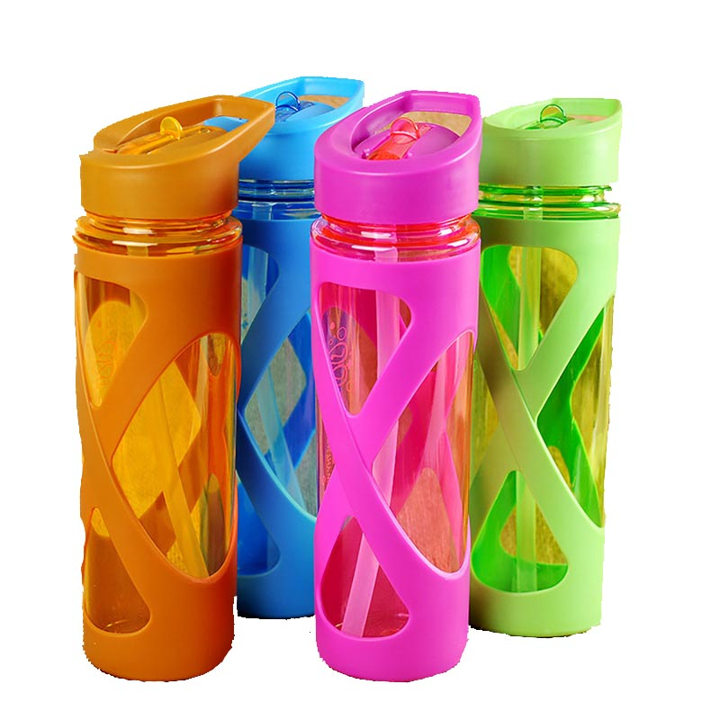 Urijk 580ML Anti Hot Leak Proof Plastic Sleeve Drink Bottle Colorful Protein Powder Shaker Seal Straw Sports Water Bottle-in Water Bottles from Home & Garden on AliExpress