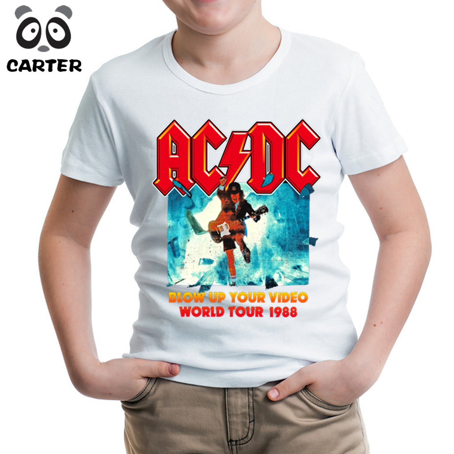 Boy&Girl Print AC DC Band Rock T-shirt O-Neck Short COOL Acdc Graphic Heavy Metal Tops Kpop Tee Kids Baby T Shirt HKP408