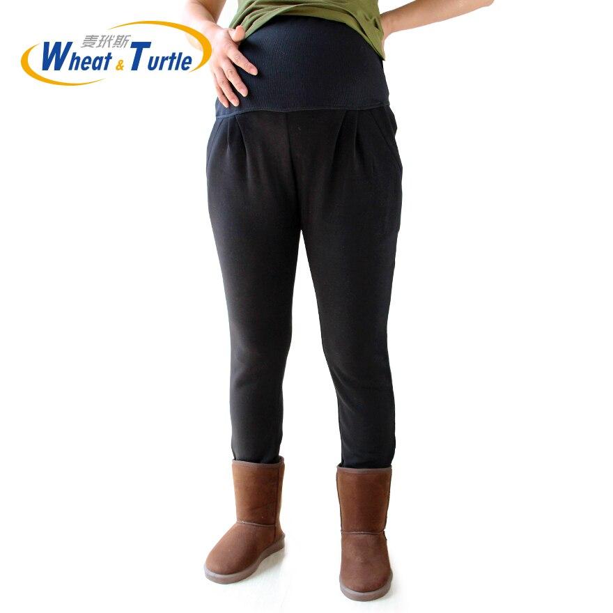 Maternity Warm Leggings XL XXL 3XL 4XL Velvet Cotton Black Winter Legging Pants For Pregnant Women Clothing Knitted Pregnancy in Leggings from Mother Kids