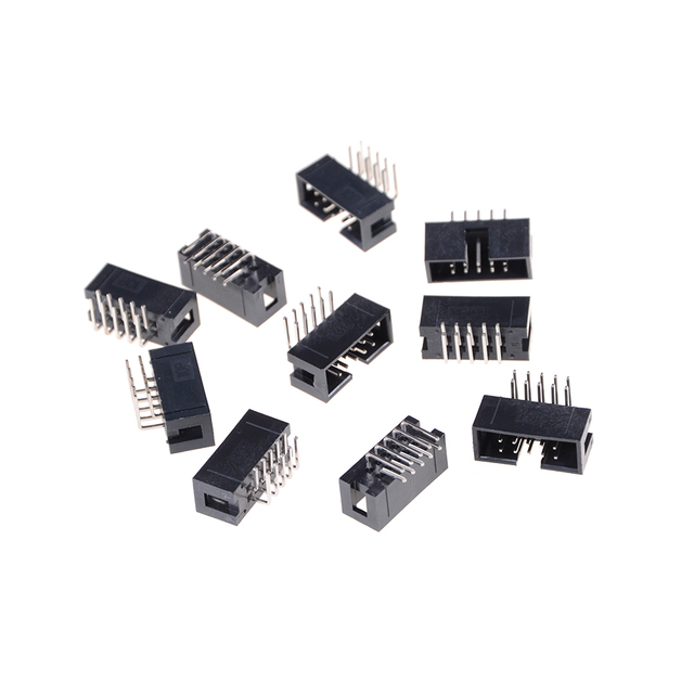 10pcs DC3 10 Pin 2x5Pin Right Angle Double Row Pitch 2.54mm Double-spaced Pin Male IDC Socket Box Header Connector