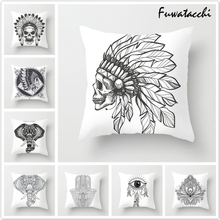 Fuwatacchi Simple Throw Pillows Cushion Cover Wings Heart Printed Pillow Floral Elephant Decorative for Sofa Car