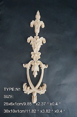 N1 -25x6x1cm Wood Carved Long Onlay Applique Unpainted Frame Door Decal Working Carpenter Flower