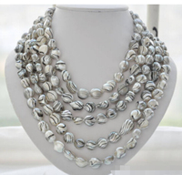 Free shipping@@@@@ 100 14mm gray striae baroque freshwater pearl necklace