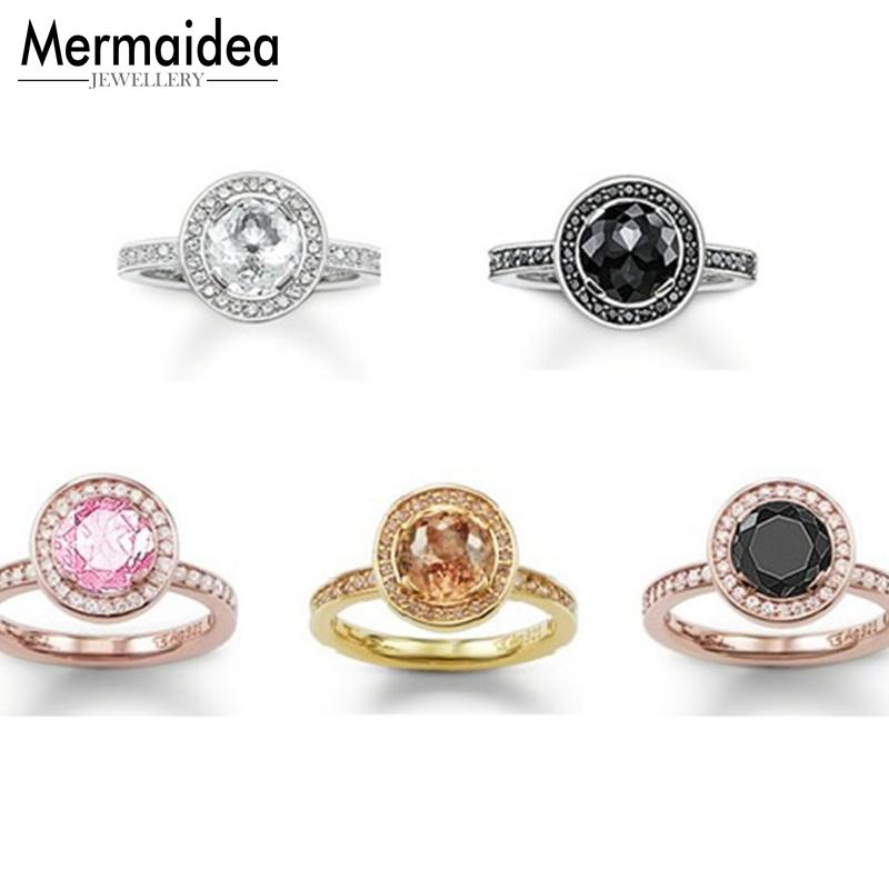 Black Pink White Solitaire One Row CZ Openable Rings Open Mouth Light of Luna Ring Jewelry Gift for Women Men
