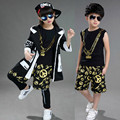 4Piece Hip-hop Jazz Dancing Show Children's Set Boy And Girl Hooded Trench Coat + T-shirt+ Shorts +Leggings Cotton Tide