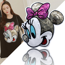 Multi combo cartoon sew on patches big middle small size mickey mouse leather back patch boy or girl Embroidery clothing