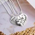 3Pcs Women's Best Friends Forever Split Heart Friendship Necklace Set Jewelry