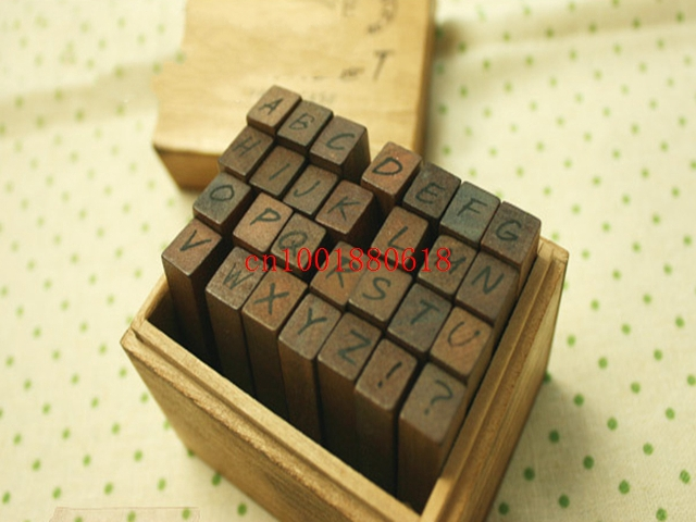 free shipping hot sale 28pcsset wooden stamps set alphabet and letters seal uppercase lowercase
