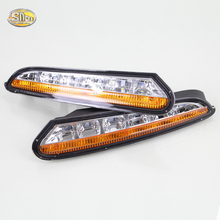 SNCN LED daytime Running Lights for Opel Mokka 2012~2015 fog lamp Eyelids lights 12V ABS DRL with turning signal light sncn led fog lamp for ford fiesta 2009 2016 with daytime running lights drl 12v high brightness