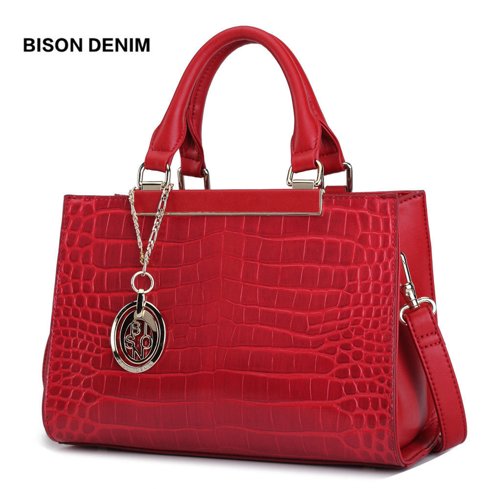 BISON DENIM Genuine Leather Women Bag Fashion Messenger Shoulder Larger Capacity Top Handle Business Queen bolsa
