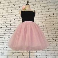 7 Layers Midi Princess Tulle Skirt Pleated Mesh Tulle Skirts Ball Gown American Style Womens Petticoat