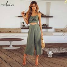 PinkyIsBlack Sexy women two piece jumpsuit set Spaghetti strap crop top overall Bow loose summer casual playsuit 2018