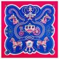 100cm*100cm Twill Silk Women 100% Silk Square Diamond Crown Horse Carriage Printed High Quality Scarf 6119
