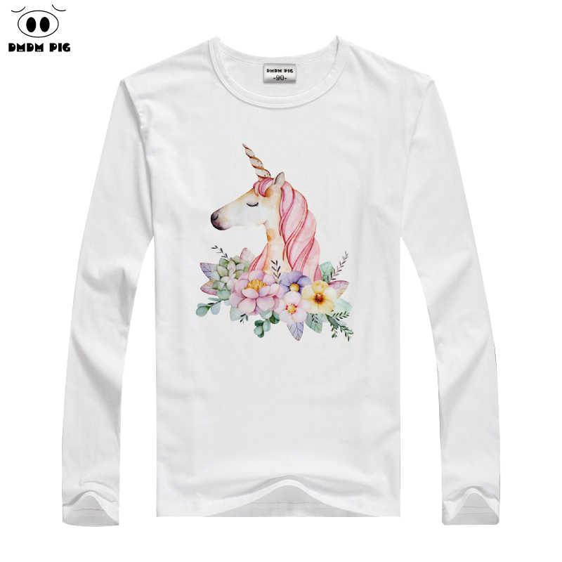 DMDM Pig лошадь футболка детская одежда для мальчиков; футболки для мальчиков; «Единорог» с длинным рукавом для детей ясельного возраста, футболки для девочек детские футболки Размеры 6 7 8 лет