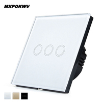 EU UK Standard 3Gang 1 Way Crystal Glass Panel Touch Switch Only Touch Wall Switch Black