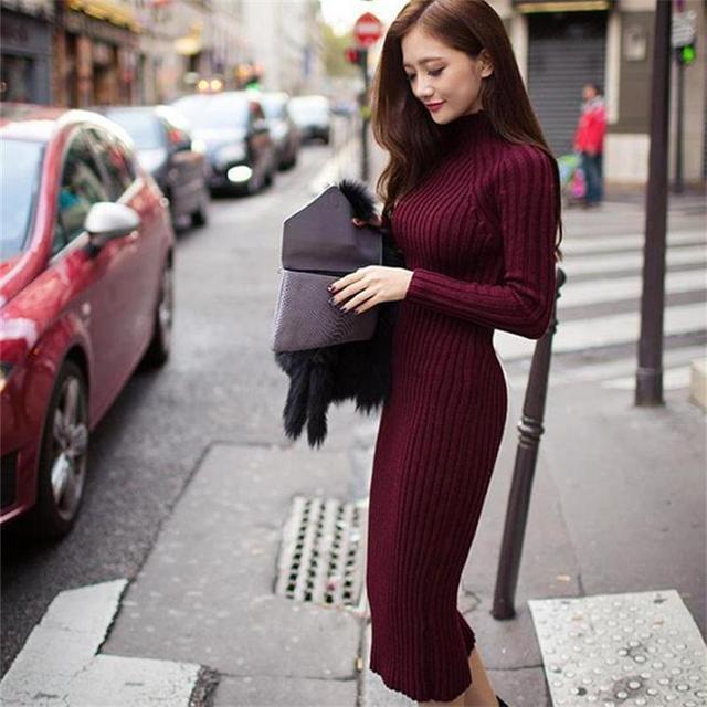 d63bc231c34e Vestiti delle nuove donne 2017 winter fashion Slim pacchetto hip collo alto  lungo tratto confortevole ispessimento