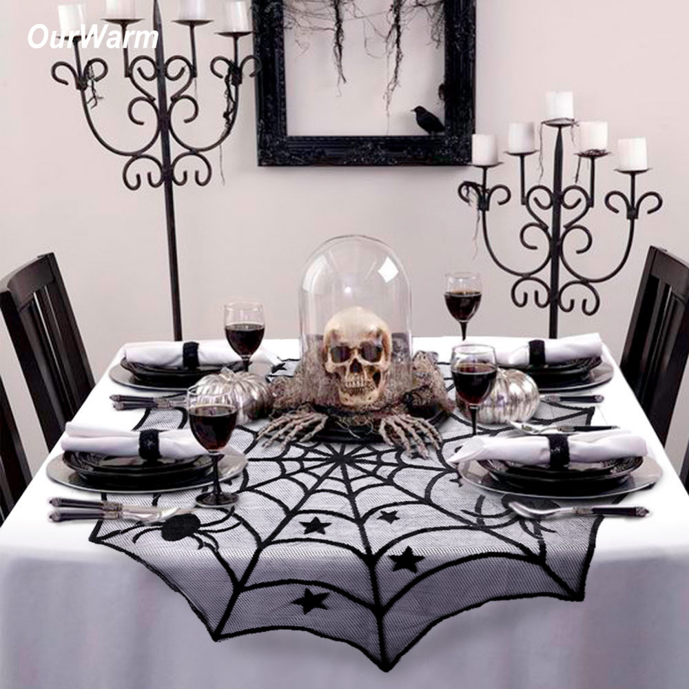 Ourwarm Halloween Party Preto Teia De Aranha Rendas Toalha de mesa 100 centímetros de Mesa Cobre Janela Pendurada Horror Halloween Decoração Da Casa