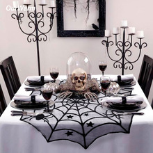 Ourwarm 100cm Halloween Spider Web Tablecloth Black Round Lace Table Topper Covers for Halloween Party Decoration Decor Props ourwarm 1pc halloween table cloth party table decoration spider web lace design rectangle tablecloth with ghost party decoration