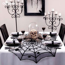 Ourwarm Halloween Party Black Lace Spiderweb Table Cloth 100cm Table Covers Window Hanging Horror Halloween Party Decoration(China)
