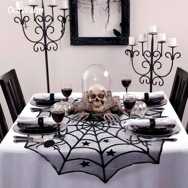 Superb Ourwarm Halloween Party Decoration Spiderweb Table Cloth 100cm Black Lace  Table Covers For Halloween Decoration Home