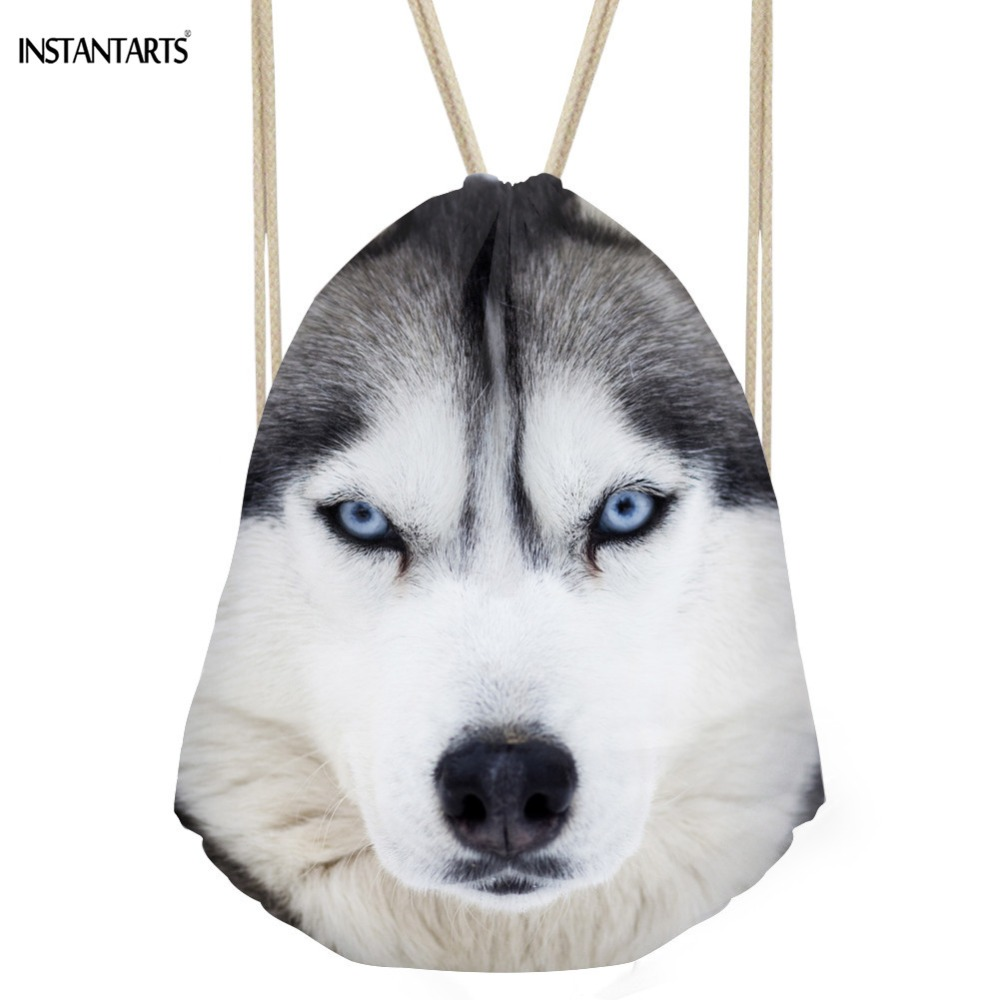 INSTANTARTS 3D Wolf Printed Man Drawstring Bag Fashion Casual Mini Fitness Backpack Ladies Reusable Rucksack Brand