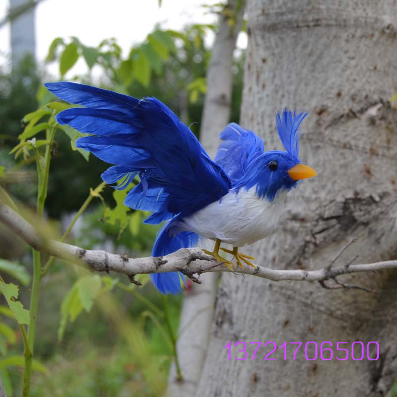 Handmade Spread Wings Blue Birds Home Decoration Phtogragh Props Arificial Birds Garden Ornament Gift Birds